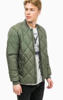 Утепленная куртка бомбер цвета хаки Jack & Jones