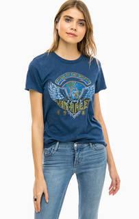 Синяя хлопковая футболка с принтом Only