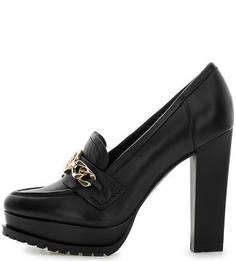 Черные кожаные туфли на устойчивом каблуке Guess