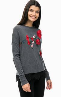 Серый джемпер с цветочными нашивками Desigual