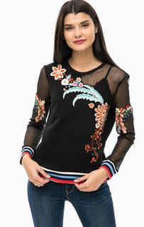 Черный свитшот с яркой цветочной вышивкой Desigual