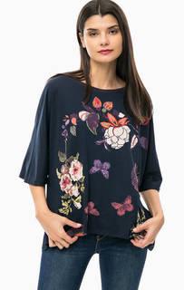 Синяя футболка оверсайз с цветочным принтом Desigual