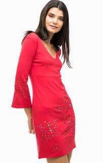 Красное трикотажное платье с длинными рукавами Desigual