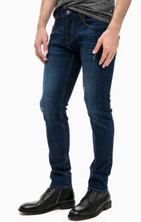 Синие джинсы скинни с потертостями Guess