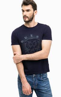 Синяя хлопковая футболка с принтом и вышивкой Guess