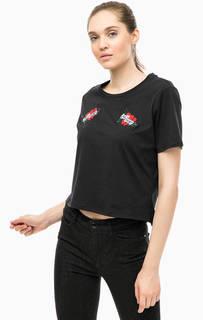 Черная хлопковая футболка с вышивкой Guess