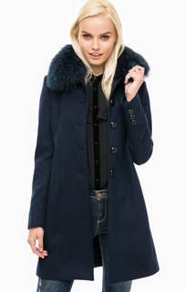 Синее пальто с меховой отделкой Kocca