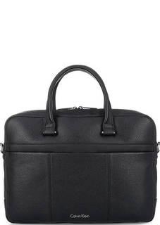 Кожаная сумка с отделением для ноутбука на липучке Calvin Klein Jeans
