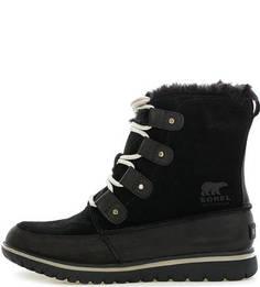 Черные замшевые ботинки на шнуровке Sorel