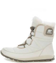 Белые утепленные ботинки из текстиля Sorel