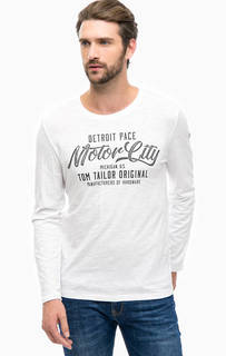 Белая футболка из хлопка с принтом Tom Tailor