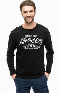 Черная футболка из хлопка с принтом Tom Tailor