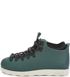 Зеленые ботинки на шнуровке Native