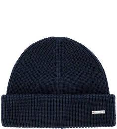 Хлопковая вязаная шапка синего цвета Gant
