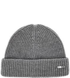Хлопковая вязаная шапка серого цвета Gant