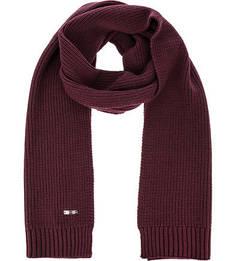 Бордовый вязаный шарф Gant