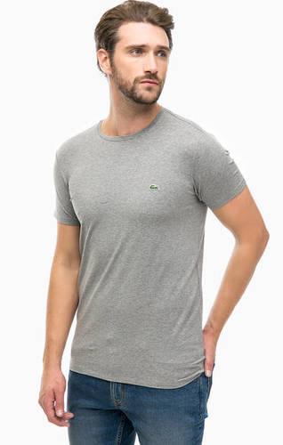 Серая хлопковая футболка с короткими рукавами