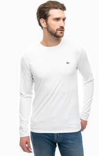 Белая хлопковая футболка с длинными рукавами Lacoste