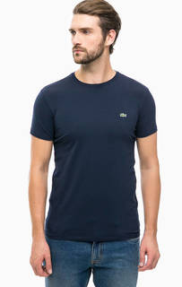 Синяя хлопковая футболка с короткими рукавами Lacoste