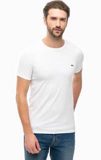 Белая хлопковая футболка с короткими рукавами Lacoste