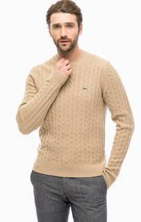 Бежевый свитер с высоким содержанием шерсти Lacoste