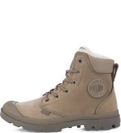 Серые ботинки из нубука и кожи Palladium