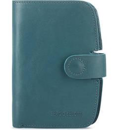 Кожаное портмоне бирюзового цвета Sergio Belotti