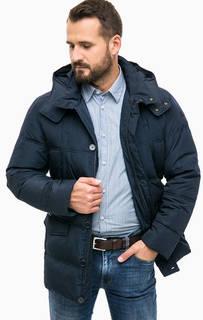 Короткий синий пуховик с капюшоном Trussardi Jeans