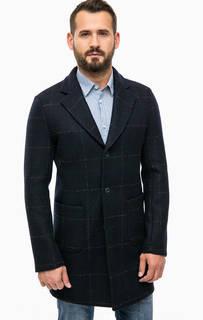Синее шерстяное пальто в клетку Trussardi Jeans