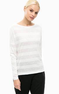 Белая футболка в полоску с цветочным принтом Lerros
