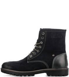 Синие ботинки из нубука с кожаными вставками S.Oliver