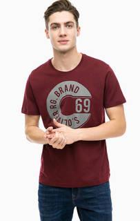 Хлопковая бордовая футболка с принтом S.Oliver
