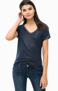 Синяя трикотажная футболка с глубоким вырезом S.Oliver