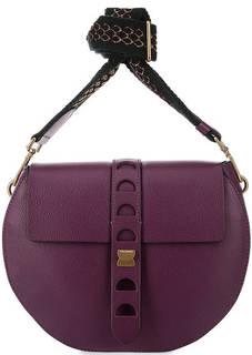 Фиолетовая кожаная сумка с двумя плечевыми ремнями Coccinelle