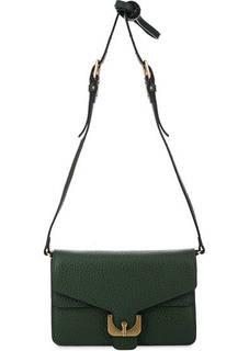 Зеленый клатч из фактурной кожи Coccinelle