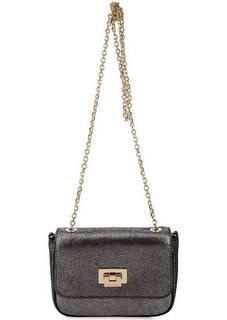 Серебристая кожаная сумка с откидным клапаном Coccinelle