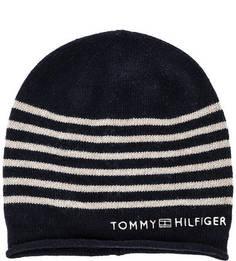 Синяя шапка в полоску Tommy Hilfiger