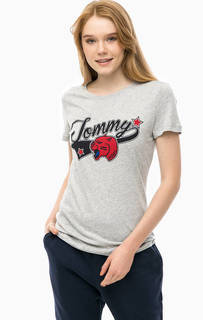 Серая хлопковая футболка с принтом Tommy Hilfiger