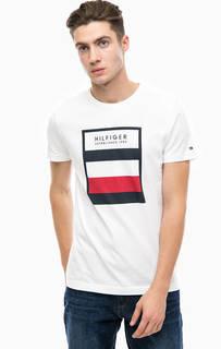 Белая хлопковая футболка с принтом Tommy Hilfiger
