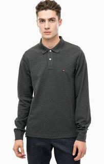 Серая хлопковая футболка поло Tommy Hilfiger