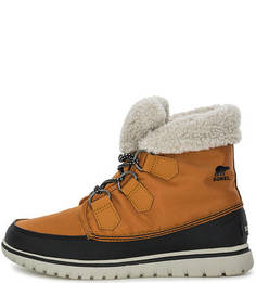 Коричневые текстильные ботинки на шнуровке Sorel