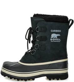 Черные высокие ботинки из нубука Sorel