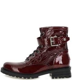 Бордовые ботинки из лаковой кожи Hilfiger Denim
