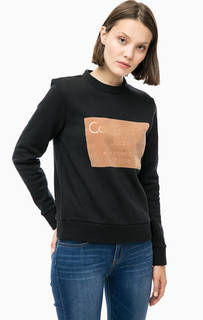 Черный свитшот с фактурным принтом Calvin Klein Jeans