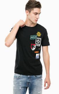 Черная футболка с нашивками Replay