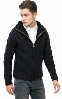 Вязаная утепленная куртка синего цвета Replay