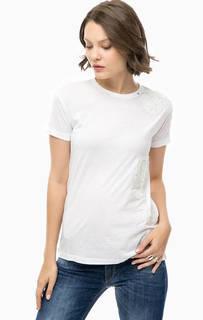 Белая футболка с декоративной отделкой Replay