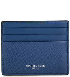 Синяя кожаная визитница Michael Michael Kors