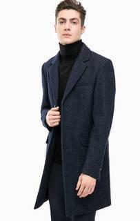 Синее пальто с высоким содержанием шерсти Antony Morato