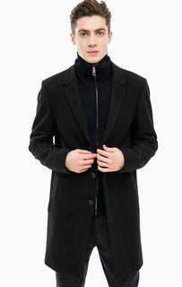 Черное пальто с высоким содержанием шерсти Antony Morato